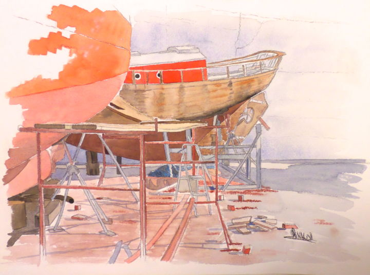 CHANTIER, aquarelle, 40X30 - Painting,  11.8x15.8 in, ©2003 by Christophe Rinaldi -                                                              Boat
