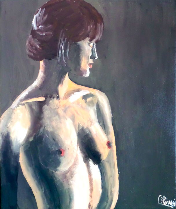 Profil - Painting, ©2014 by Christophe Rinaldi -                                                                                                                                                          Performing Arts, Nude, NU