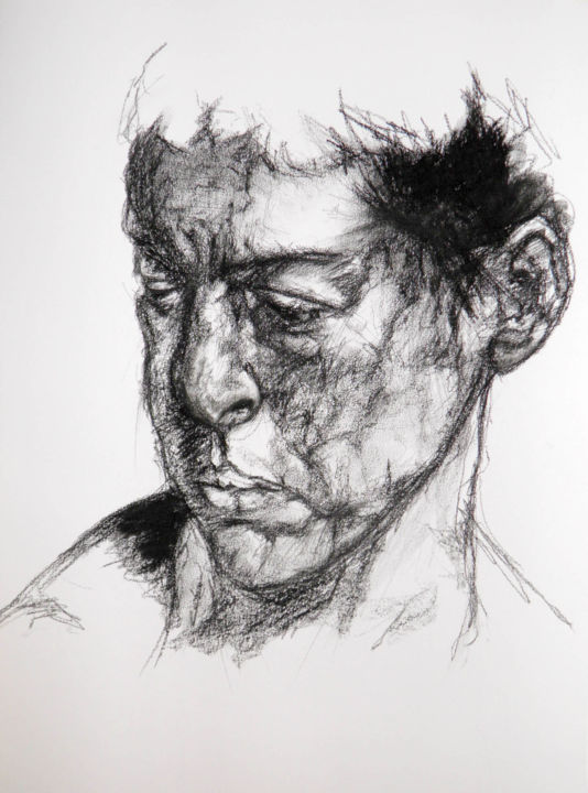 Visage 2 - Drawing,  25.6x21.7 in, ©2018 by christophe Thomas -                                                                                                                                                      dessin, pierre noire, drawing
