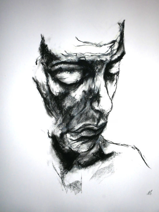 Soliloque - Drawing,  23.6x19.7 in, ©2019 by christophe Thomas -                                                                                                                          Figurative, figurative-594
