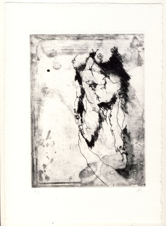 Fenêtre sur cour - Printmaking,  11x7.9 in, ©2020 by Christophe Thomas -                                                                                                                                                                                                                                                                                                              Figurative, figurative-594, estampe, taille directe, burin, etching