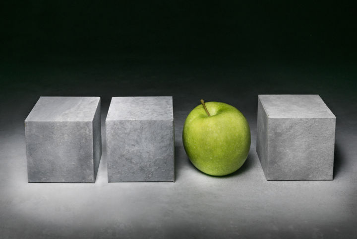 In between - Photography,  40x60 cm ©2016 by Christophe VEROT -                                                            Minimalism, Aluminum, Still life, fine art photography, green, apple, fruit, geometric, grey, contrast, shapes, chiaroscuro, contemplative