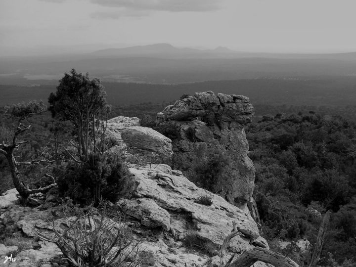 Paysage de Provence et ciel gris - Photography, ©2017 by CHRISTOPHE GOL -                                                                                                                                                                                                                                                                                                                                                                                                                                                                                                                                                                                                                                                                                                                                                                                                                                                                                                                                                                                                                                                                                                                                              Classicism, classicism-933, Aluminum, Paper, Plexiglass, Canvas, Places, Nature, Black and White, Landscape, Mountainscape, paysage de provence, ciel gris, photographie, rochers, pierre, hauteur, altitude, arbuste, garrigue, cades, provence, gol, Black and White