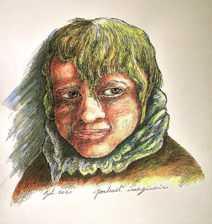 Portrait imaginaire - Drawing,  16.5x11.8 in, ©2019 by CHRISTOPHE GOL -                                                                                                                                                                                                                                                                                                                                                                                                                                                                                                                                                                                          Figurative, figurative-594, Kids, Portraits, portrait imaginaire, plume, encre de chine, aquarelle, couleur, portrait, traits, christophe gol
