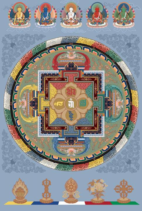 Mandala of the Five Families - Painting, ©2010 by Christopher Banigan -