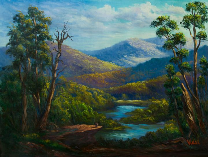 Along the snowy river, Victoria - Painting,  18x24x1.2 in ©2018 by Christopher Vidal -                                                                        Classicism, Realism, Canvas, Landscape, river, landscape, fine art, mountains, realism, Australian landscape, traditional realism, impressionism, light, nature