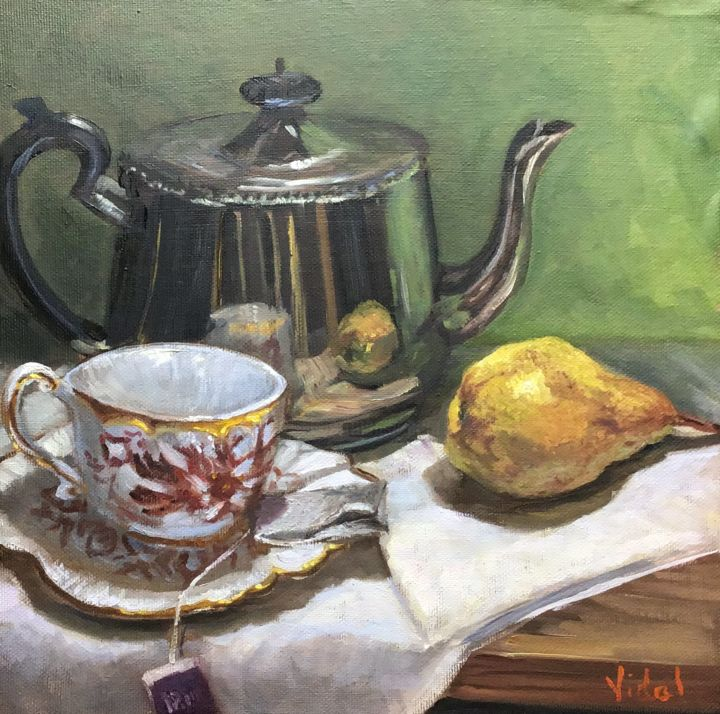 Tea Time - Still Life - Painting,  12x12x1 in ©2019 by Christopher Vidal -                                                                                    Contemporary painting, Realism, Canvas, Wood, Still life, contemporary realism, still life, tea, tea bag, cup, kettle, realism, oil painting, green