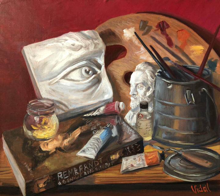 """Painting titled """"At the Art Atelier…"""" by Christopher Vidal, Original Art, Oil"""