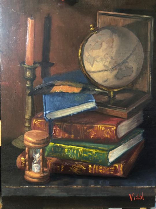 """Painting titled """"Globe, books and ti…"""" by Christopher Vidal, Original Art, Oil"""