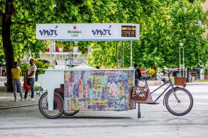PIANO BIKE BAR & MORE - Sculpture,  84.7x129.9x57.1 in, ©2017 by Chris Tsonias -                                                                                                                                                                                                                                                                                                                                                                                                                                                                                                                                                                                                                                                                                                                                                                                                                                                                      Abstract, abstract-570, Aluminum, Canvas, Fabric, Paper, Wood, Bike, Culture, Food & Drink, Music, street art, recycled art, street music, food & drinks, abstract, modern art, innovation