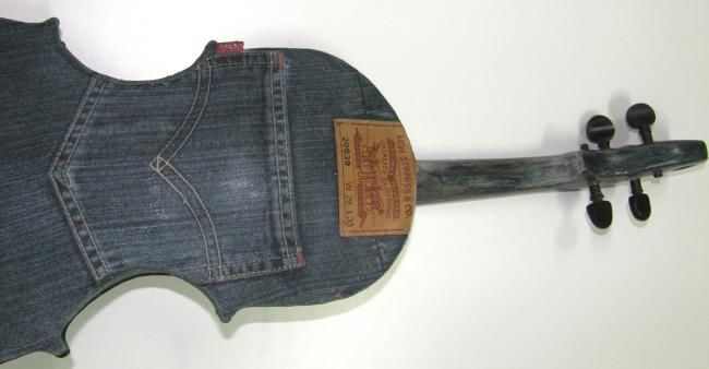 LEVI'S recycled denim pants violin - Mixed Media,  22x60 cm ©2012 by Chris Tsonias -                                                                                                            Environmental Art, Modernism, Pop Art, Fabric, Music, Science, World Culture, Levi's violin made from recycled denim pants, denim violin, recycled musical instruments, textile art, denim art, pop art