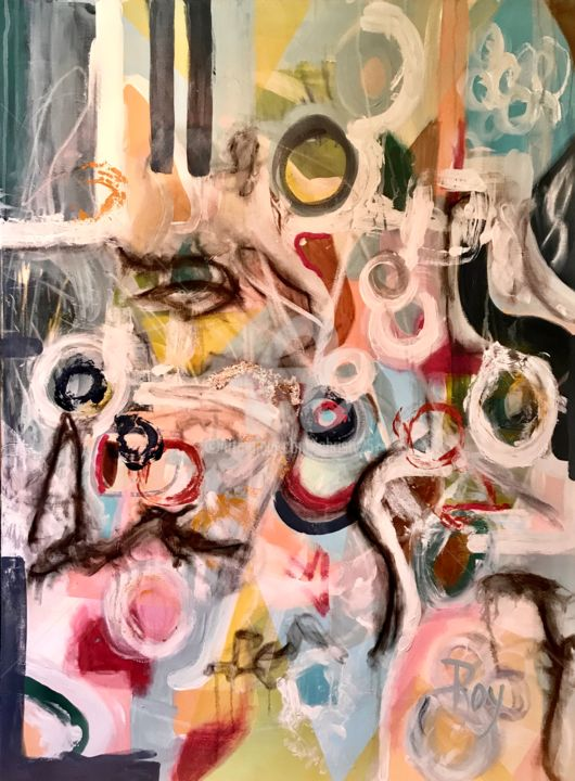 RÂGA - Painting,  48x36x1.5 in, ©2019 by Christiane Roy -                                                                                                                                                                                                                                                                                                                                                                                                          Outsider Art, outsider-art-1044, Abstract Art, abstrait, couleur, grand format, toile, acrylique