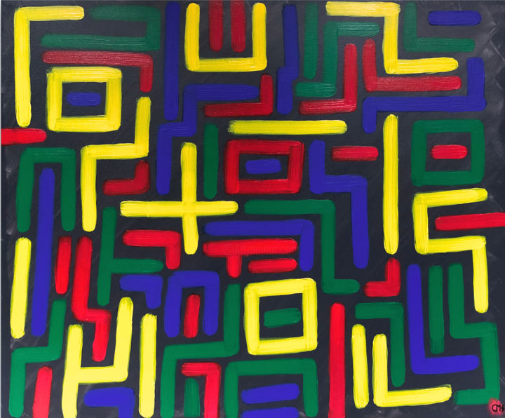 """Painting titled """"Tribes"""" by Chromashi, Original Art, Acrylic Mounted on Stretcher frame"""