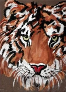tigre - Painting,  15.8x13.8 in, ©2006 by chris -                                                              pastel afrique
