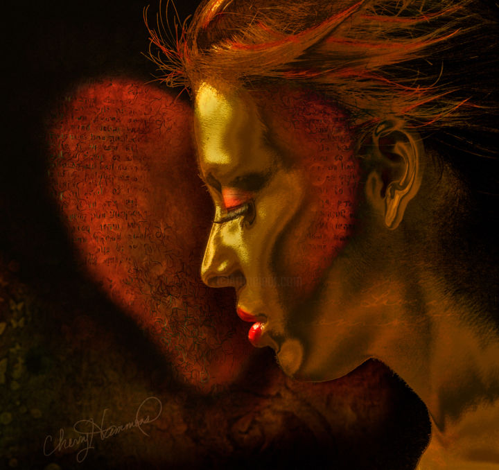 Goldn - Digital Arts ©2019 by Cherry's Artworks -                                                                    Surrealism, Abstract Expressionism, Portraiture, Women, beauty, hair, gold, surrealism., portraiture, women, colby files