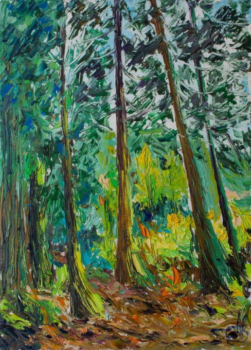 """Painting titled """"in the forest on ma…"""" by Anna Churyukina, Original Art, Oil"""