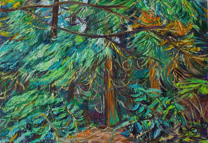 """Painting titled """"forest on san miguel"""" by Anna Churyukina, Original Art, Oil"""