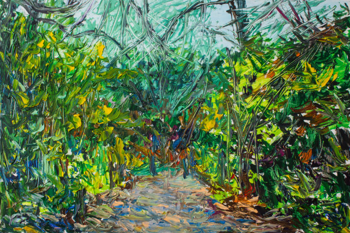 """Painting titled """"forest path in made…"""" by Anna Churyukina, Original Art, Oil"""