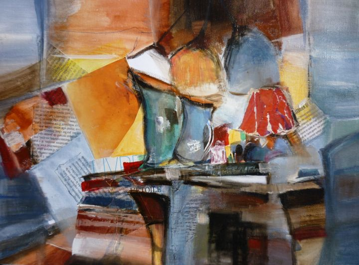 Table de travail - Painting,  30x40 cm ©2018 by Christelle Veron Cherbonnier -                                                        Contemporary painting, Canvas, Interiors