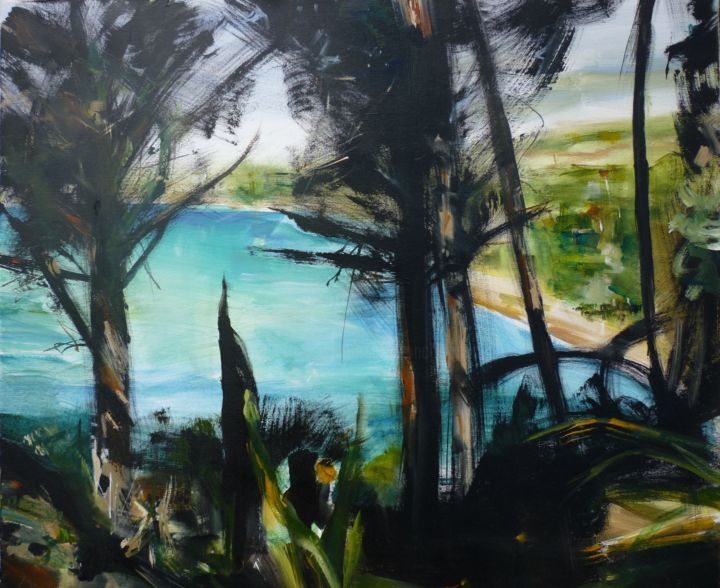 Porquerolles - Painting,  54x65 cm ©2018 by Christelle Veron Cherbonnier -                                                        Contemporary painting, Canvas, Seascape