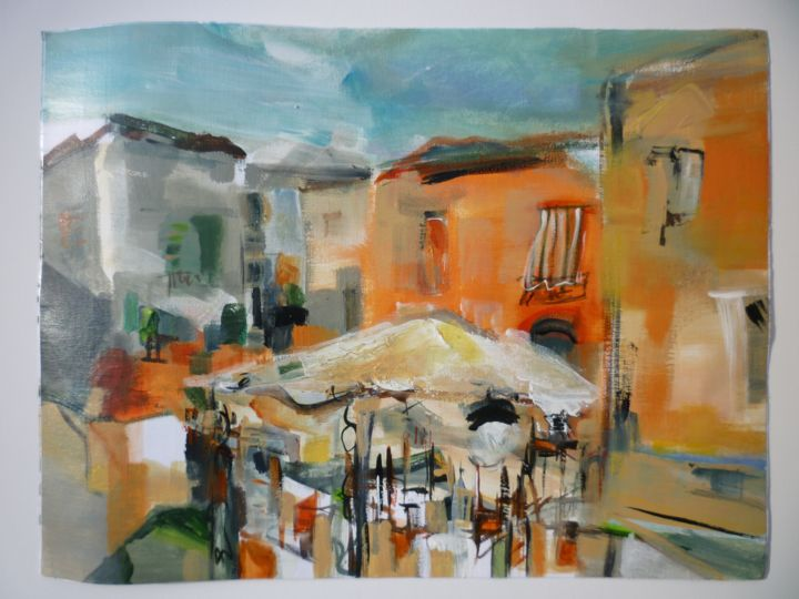 Terrasses d'été - Painting,  30x40 cm ©2018 by Christelle Veron Cherbonnier -                                                                                            Contemporary painting, Canvas, Architecture, Home, Cityscape, Cities
