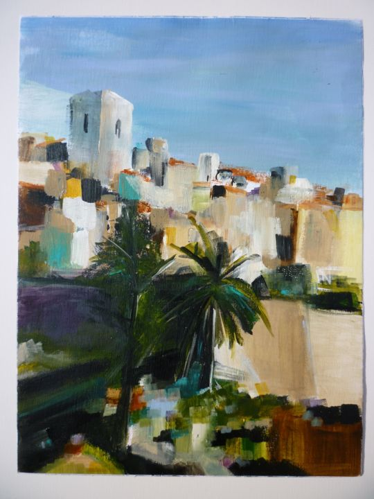Saint Paul de Vence - Painting,  40x30 cm ©2018 by Christelle Veron Cherbonnier -                                                                                Contemporary painting, Canvas, Architecture, Cityscape, Cities
