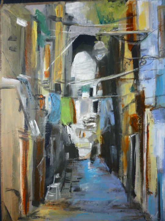 Rue de Naples - Painting,  40x30 cm ©2018 by Christelle Veron Cherbonnier -                                                        Contemporary painting, Other, Cityscape