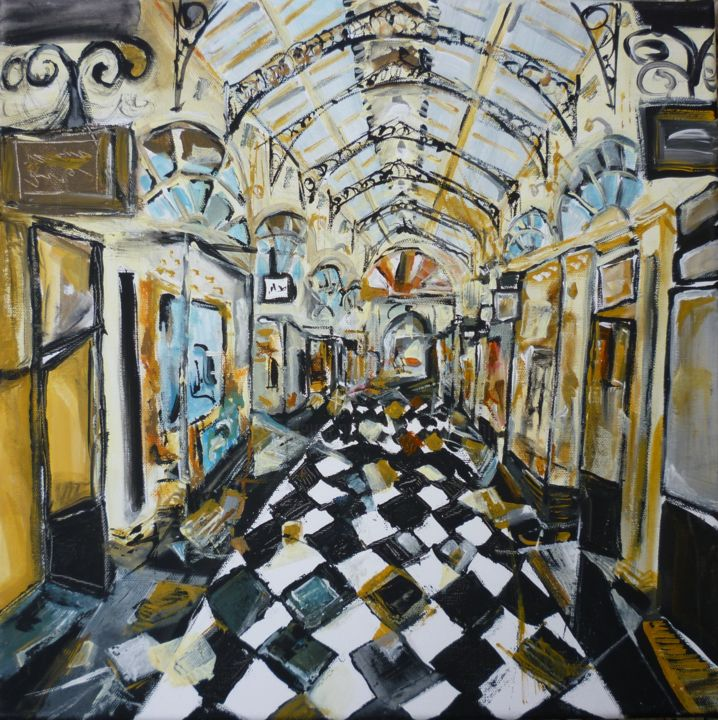 Royal arcade - Painting,  40x40 cm ©2018 by Christelle Veron Cherbonnier -                                                                                Contemporary painting, Canvas, Architecture, Interiors, Cities