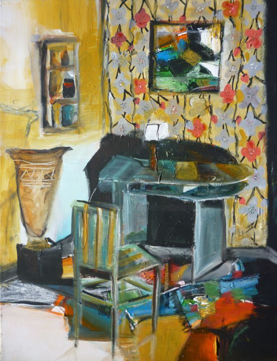 Le bureau Art Déco - Painting,  55x46 cm ©2019 by Christelle Veron Cherbonnier -                                                        Contemporary painting, Canvas, Interiors
