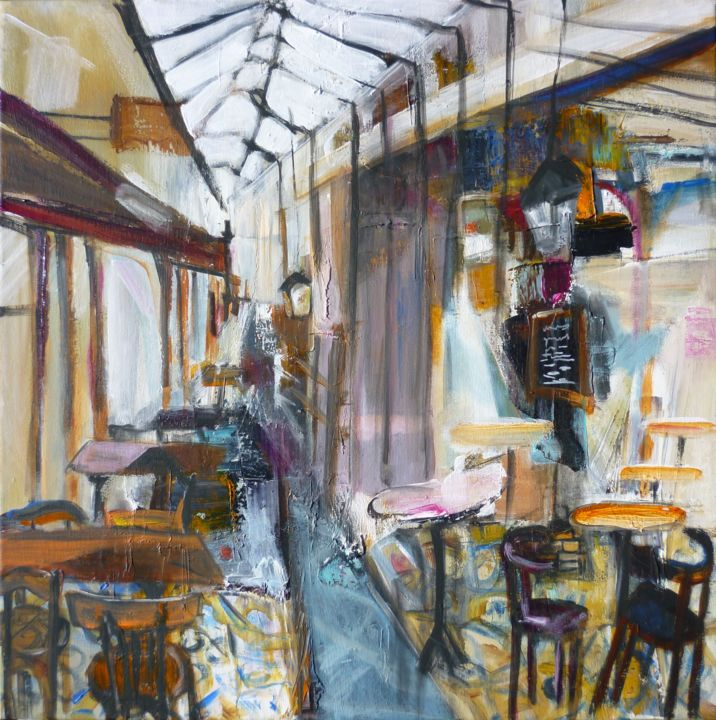 Wagon-restaurant - Painting,  50x50 cm ©2019 by Christelle Veron Cherbonnier -                                        Contemporary painting, Interiors