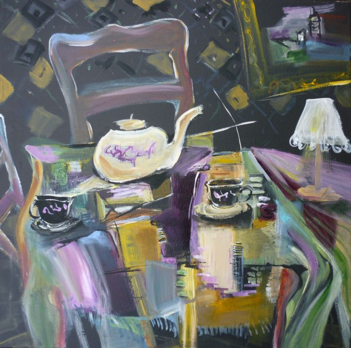 Thés partagés - Painting,  40x40 cm ©2019 by Christelle Veron Cherbonnier -                                                                    Contemporary painting, Canvas, Interiors, Still life