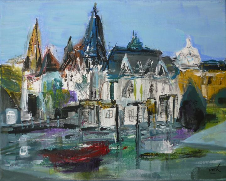Budapest - Painting,  7.9x9.8 in, ©2019 by Christelle Veron Cherbonnier -                                                                                                                                                                                                                                                                                                                  Figurative, figurative-594, Cityscape, paysage, ville chateau, reflets