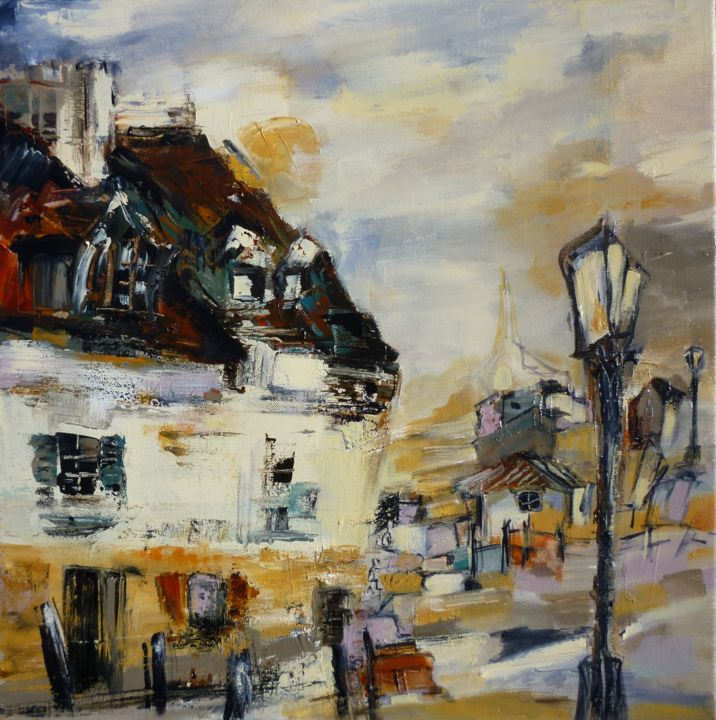Le manoir décrépi - Painting,  50x50 cm ©2015 by Christelle Veron Cherbonnier -                                                            Contemporary painting, Canvas, Home, manoir décrépi, vieux murs, village, maisons, lampadaire