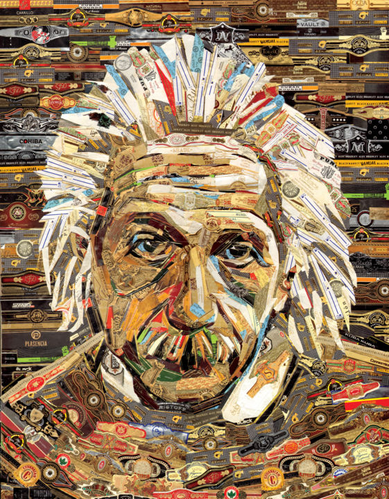 "Cigar band collage""Albert Einstein"" - Collages,  26x20x0.4 in, ©2019 by Alex Gashunin -                                                                                                                                                                                                                                                                                                                                                                                                                                                      Conceptual Art, conceptual-art-579, Science, cigar, cigar band, Einstein, cigars art, cigar art, cigar band collage"