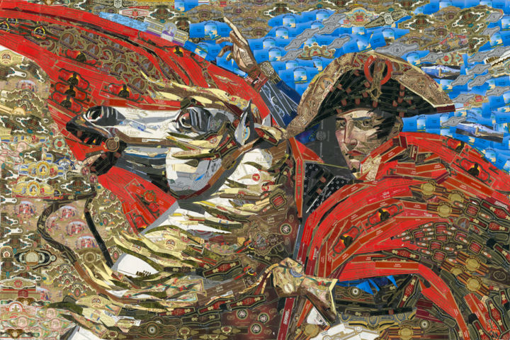 """Cigar band collage """"Napoleon Crossing the Alps"""" - Collages,  36x30x0.4 in, ©2010 by Alex Gashunin -                                                                                                                                                                                                                                                                                                                                                                                                          Classicism, classicism-933, History, Napoleon, cigar bands, cigar art, cigar band collage, cigars"""