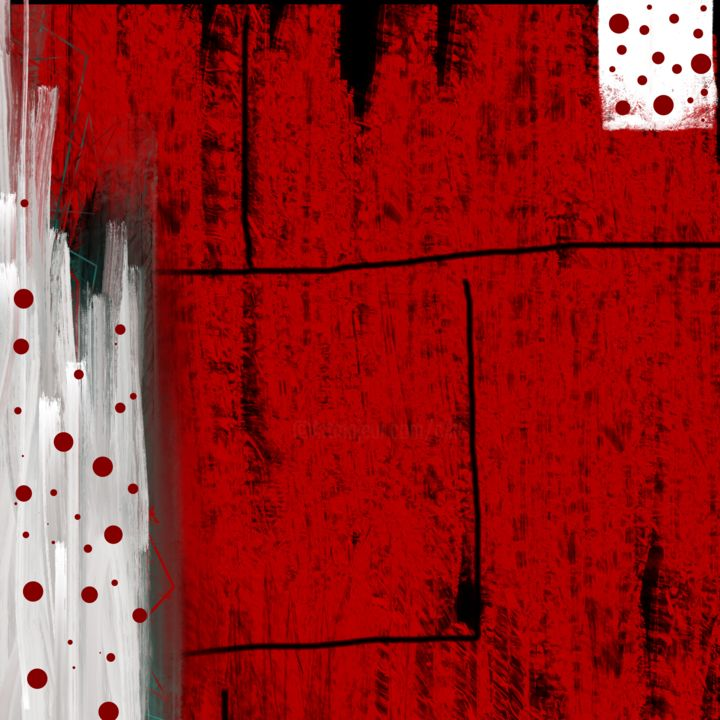 Red Spots of Joy - Digital Arts,  60x60x2.2 cm ©2017 by CiLA -                                                                                    Abstract Art, Abstract Expressionism, Contemporary painting, Aluminum, Abstract Art, spots, red, white, black, lines, joy