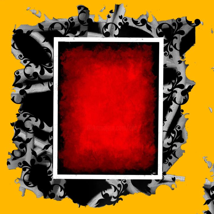 The Frame - Digital Arts, ©2018 by CiLA -                                                                                                                                                                                                                                                                                                                                                              Abstract, abstract-570, Abstract Art, frame, yellow, red, grey