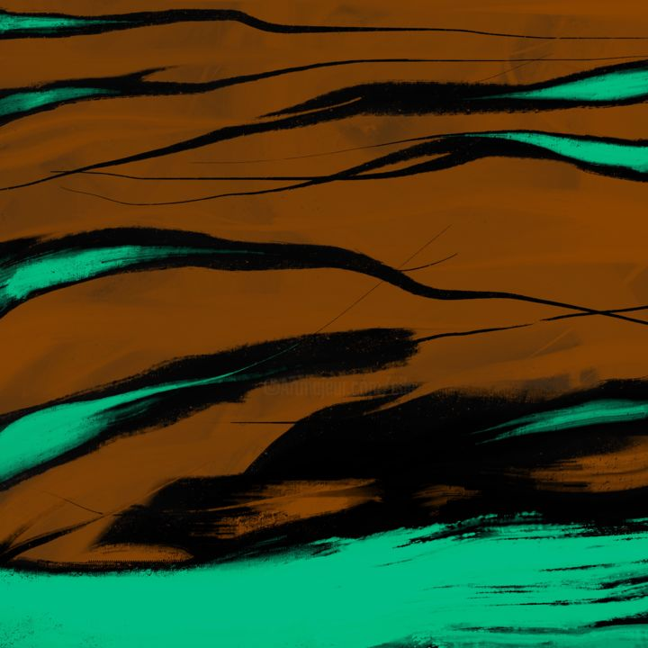 Caress of Green Waves - Digital Arts, ©2019 by CiLA -                                                                                                                                                                                                                                                                                                                                                                                                          Abstract, abstract-570, Abstract Art, caress, green, waves, memories, brown