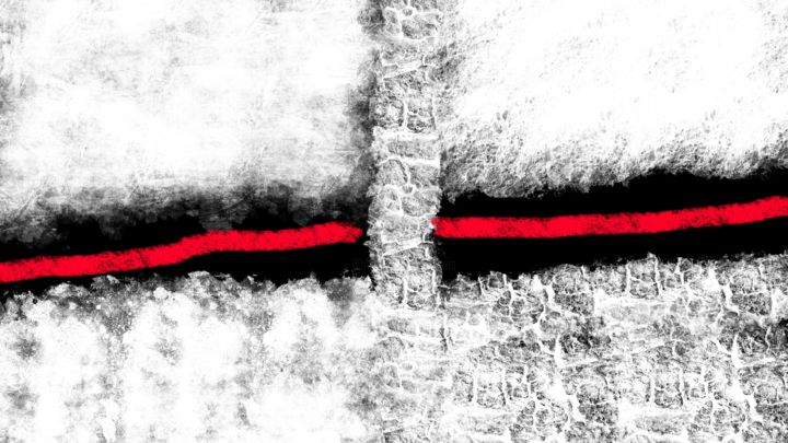 Behind Red Line - Rectangular - Digital Arts, ©2017 by CiLA -                                                                                                                                                                                                                                                                                                              Abstract, abstract-570, black, red, line, behind