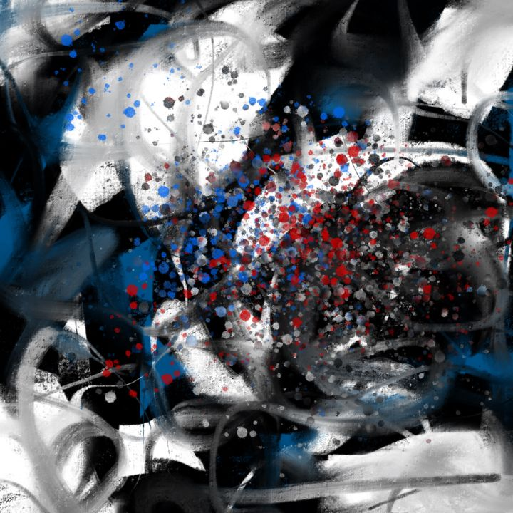 Pain - Blue - Digital Arts, ©2019 by CiLA -                                                                                                                                                                                                                                                                                                                  Abstract, abstract-570, Abstract Art, pain, blue, red