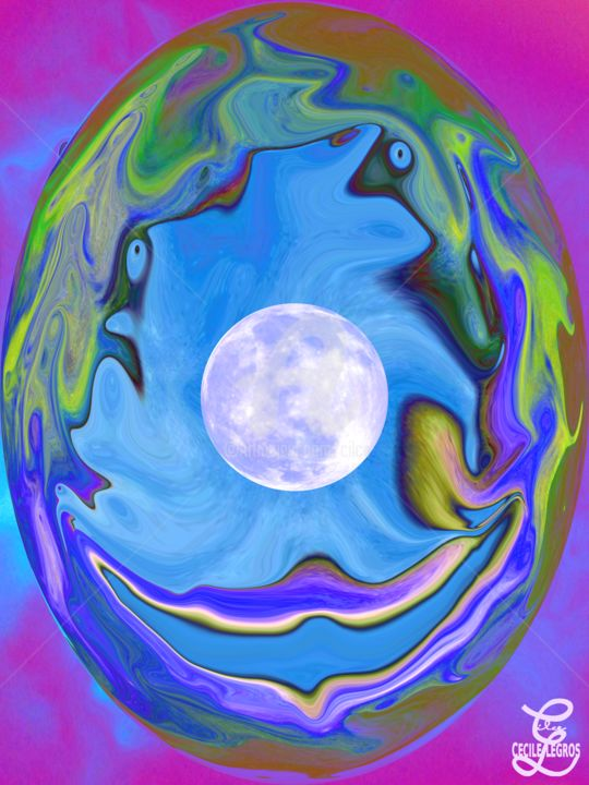 ŒUF EN COULEUR & LUNE EN PHOTO - Digital Arts, ©2020 by Cilce -                                                                                                                                                                                                                                                                  Abstract, abstract-570, oeuf, lune, pâques