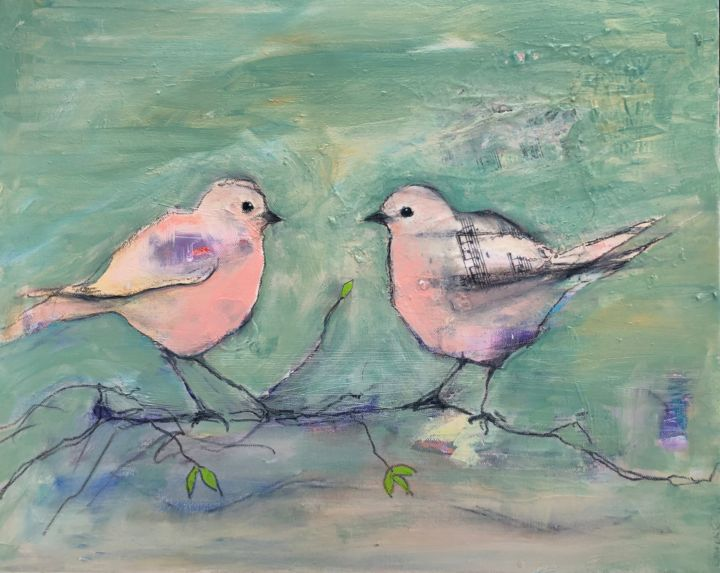 """Painting titled """"Bird Song"""" by Cindy Moore Caird, Original Art, Oil"""