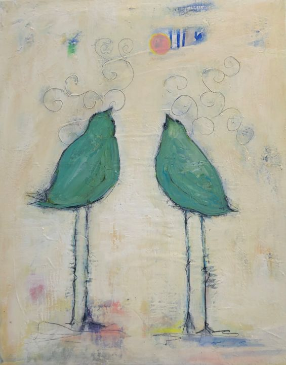 """Painting titled """"It's a Bird"""" by Cindy Moore Caird, Original Art, Oil"""