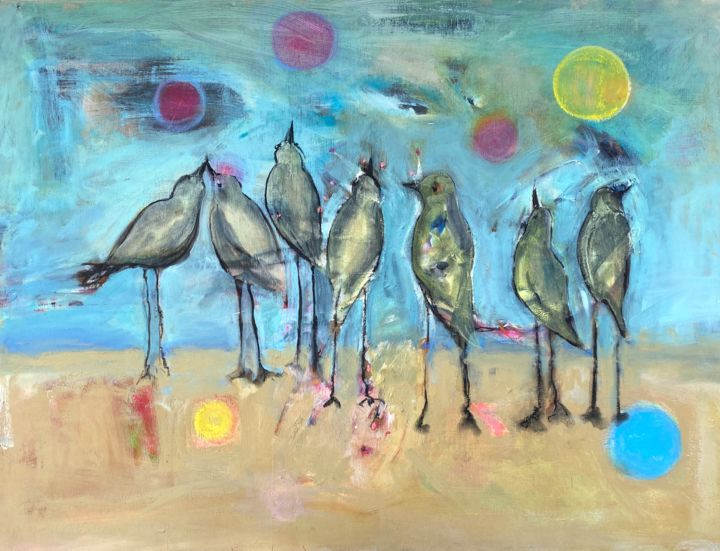 """Painting titled """"The Party"""" by Cindy Moore Caird, Original Art, Oil"""