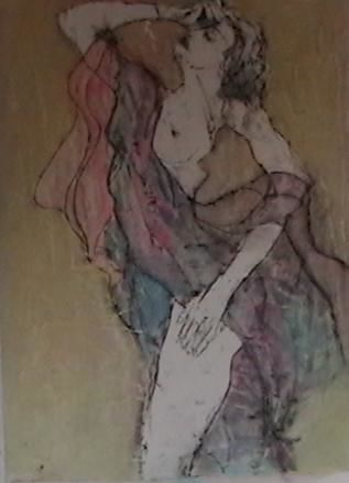"""Painting titled """"Draped Figure Study"""" by Cindy Moore, Original Art, Oil"""