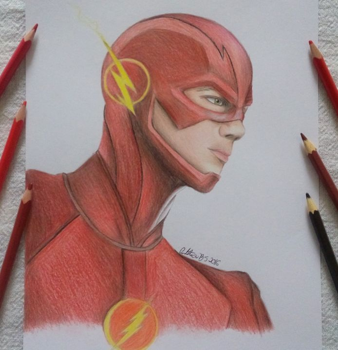 The Flash Realismo - Disegno,  11,4x8,3 in, ©2016 da Cinthia Barbosa -                                                                                                                                                                                                                                                                                                                                                                                                                                                      Illustration, illustration-600, Cultura popolare / celebrità, Persone, the flash, realismo, ilustracao, celebridade, filme