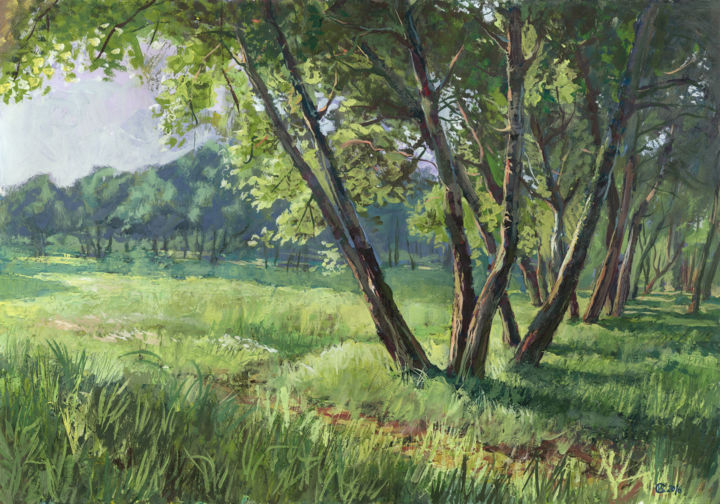 """Painting titled """"Alee in parc"""" by Ion Ciornea, Original Art, Gouache"""