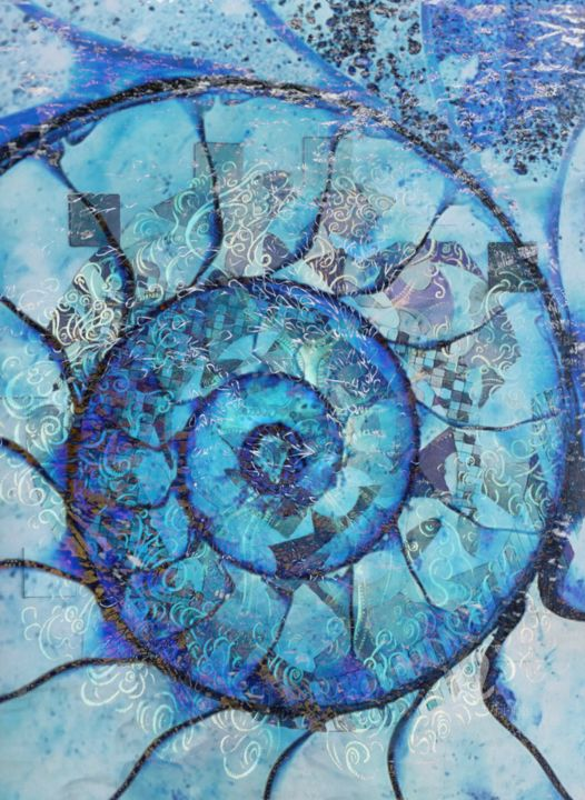 Mosaïque en fossile - Arts numériques,  27,6x19,7 in, ©2020 par Corinne Sassi (Cjr sassi) -                                                                                                                                                                                                                                                                                                                                                              Abstract, abstract-570, Couleurs, Science, fossile, nautile, fond marin