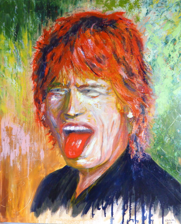 Mick JAGGER  ROLLING STONES - Painting ©2017 by CJULIA -                                                                        Figurative Art, Portraiture, Canvas, People, rolling stones, mick jagger, langue, rouge, red, cjulia