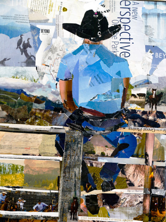 Cowboy on a Fence - Коллажи,  24x18x0,7 in, ©2020 - Caren Keyser -                                                                                                                                                                                                                                                                                                                                                                                                                                                                                                                                          Expressionism, expressionism-591, rodeo, cowboy, horse, distance, landscape, realism, man, cowboy hat, fence